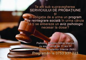 Avize psihologice la finalul programului de reintegrare socială- Serviciul de Probațiune