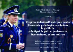Pregătire individuală și de grup pentru examenele psihologice de admitere la școlile de: subofițeri poliție, jandarmi, licee militare, poliție militară.